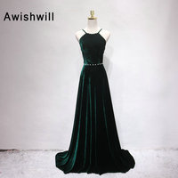 Real Photos Sexy Open Back Prom Dress Long Beaded Velvet Evening Gown A Line With Straps Women Formal Party Dress Dark Green
