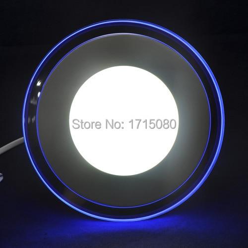 15 W Akrilik çift renk led panel ışık soğuk beyaz + Mavi yuvarlak gömme tavan paneli ışıkları lamba yatak odası armatür için