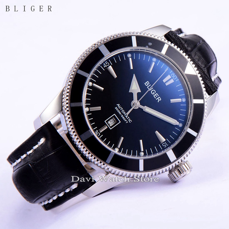 BLIGER 46mm Stainless steel case black bezel  luminous automatic mens Date wrist watch