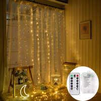 Batterie alimenté 3X3M 300 LED rideau glaçon fée chaîne lumières fil de cuivre LED de noël fête de mariage fée lumières guirlande