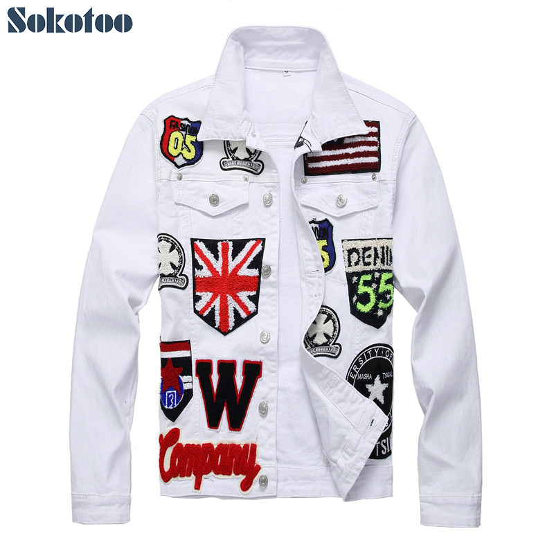 Sokotoo Men's English flag skull embroidered white jean jacket Trendy letters badge long sleeve stretch coat Patchwork outerwear