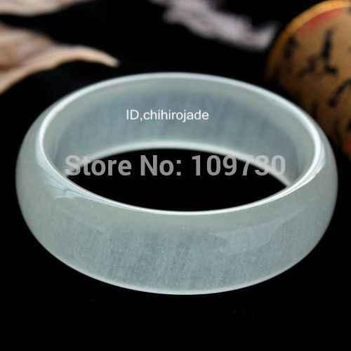 """Wyanshun 001500ได้รับการรับรอง100%ธรรมชาติน้ำแข็งสีขาวหยกกำไลสร้อยข้อมือ""""ทำด้วยมือ(A0429)"""