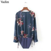 V neck floral print bodysuit