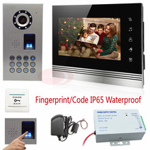 Video Intercom With Fingerprint recognition/Password unlock Intercom System For Home Touch button CCD Camera IP65 Waterproof