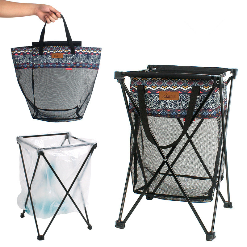 Outdoor Camping Multifunctional Mesh Basket With Garbage Bag Holder Cross Bracket Accessories