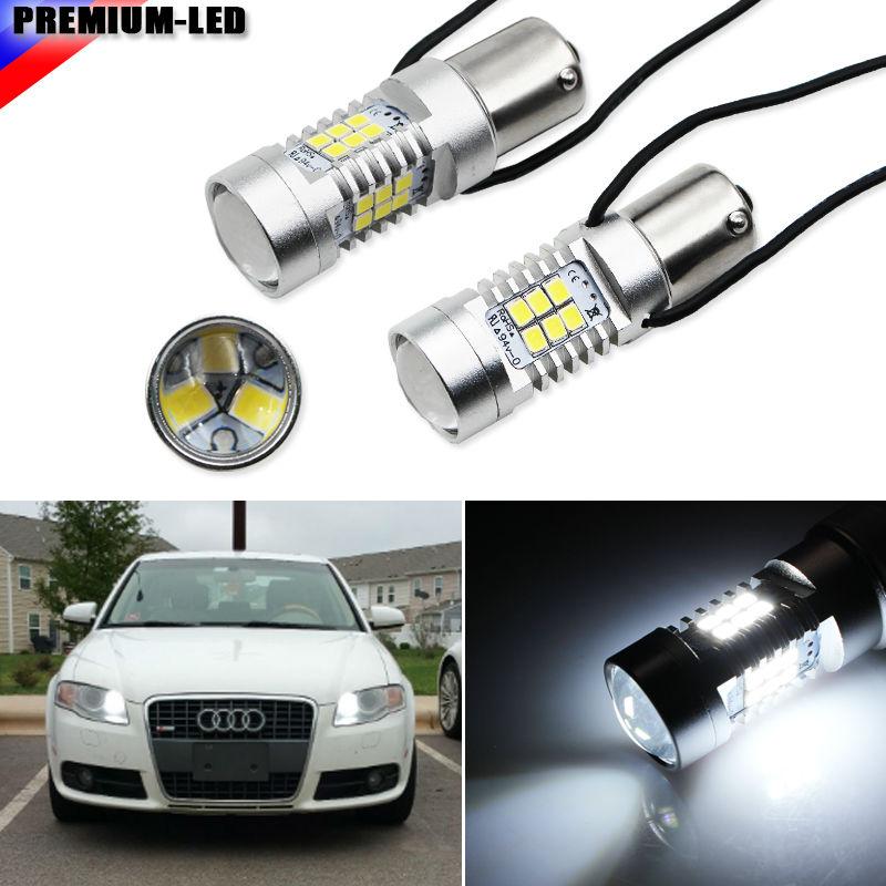 iJDM Error Free White 27-SMD 7506 LED Bulbs w/ Resistors For Audi B7 A3 A4 A6 A8 Q7 S3 S4 S6 Daytime DRL Lights ijdm amber yellow error free bau15s 7507 py21w 1156py xbd led bulbs for front turn signal lights bau15s led 12v