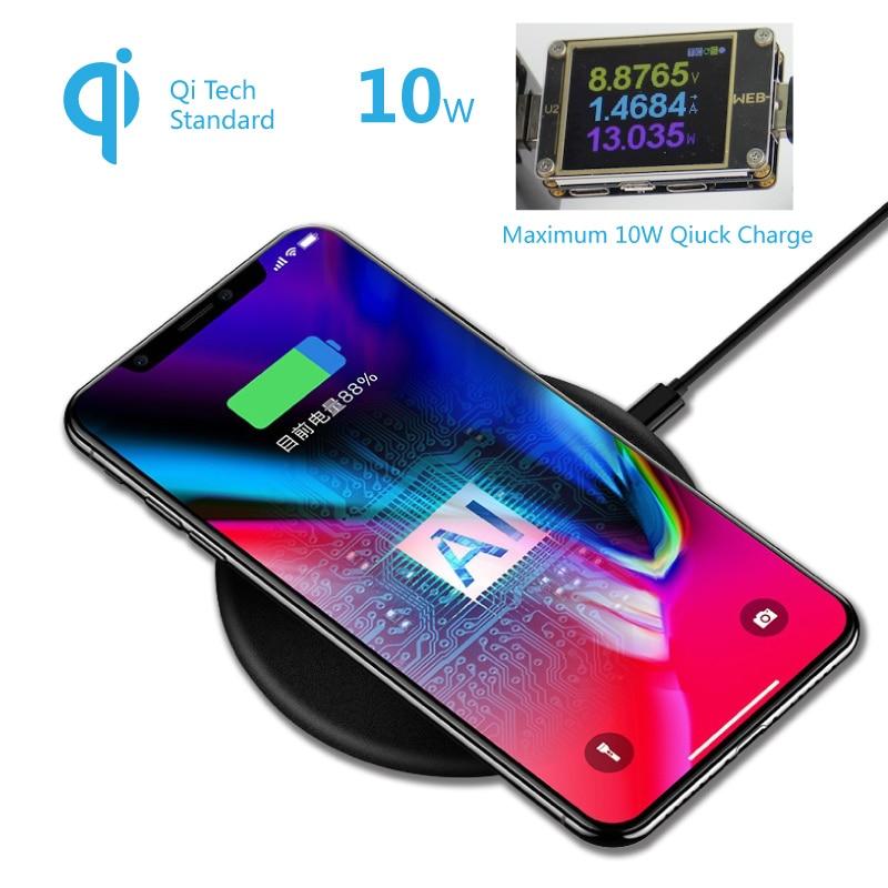 10 watt Schnelle Ladung Qi Drahtlose Ladegerät Pad 9 v Schnell Lade Adapter Basis Bord für iPhone 8 X XS XR Samsung S9 Hinweis Nexus Lumia LG