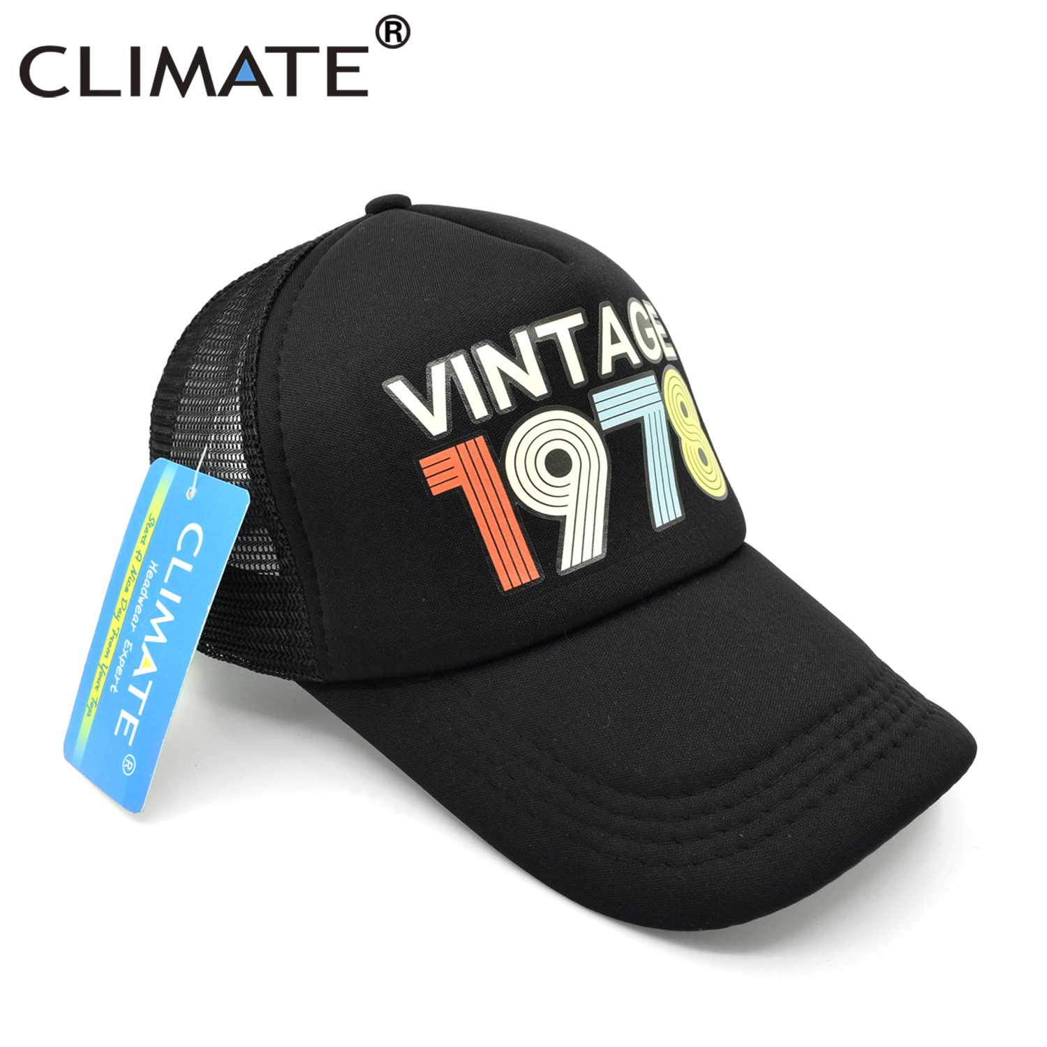 CLIMATE Vintage 1978 Trucker Cap Men Women Retro 40th Birthday Gift Baseball Caps Black Cool Hat For In From Mens Clothing