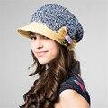 Envío Libre Kenmont Mujeres Summer Sun Viseras Boina Manera Del Casquillo Sombrero de Paja De Papel Hermosa bowknot Caps 0543
