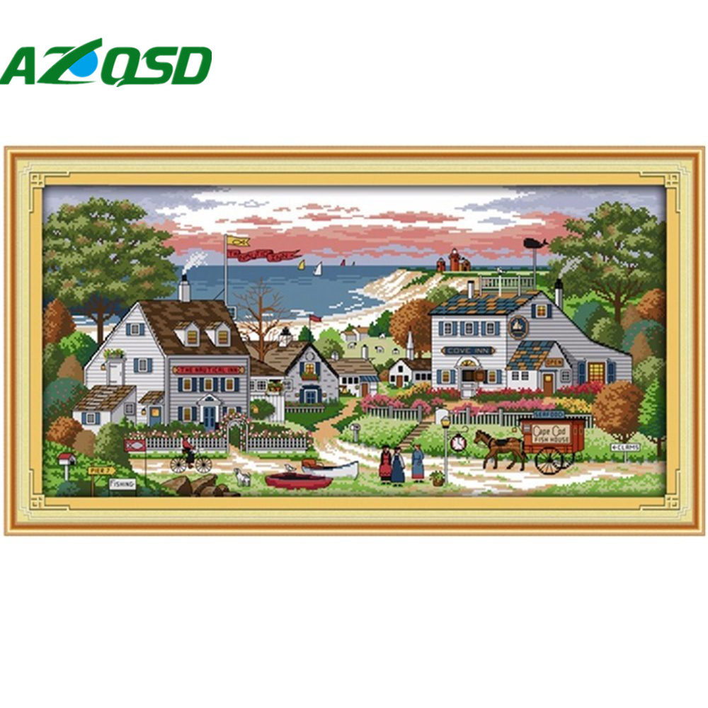 AZQSD Cross Stitch Home Wall Decor Counted print on the canvas 14CT11CT Needlework kits Embroidery Sets Comfortable bay f203