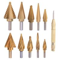 5pcs Set Large Cobalt Step Drill Bit HSS Step Titanium Core Drill Multiple Hole Cutter Drill