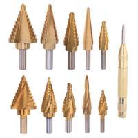 5pcs/set Large Cobalt Step Drill Bit HSS Step Titanium Core Drill Multiple Hole Cutter Drill Bit Set Power Tool