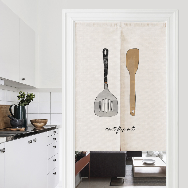 Nordic Restaurant Kitchen Linen Door Curtain Noren Bedroom Kitchen Curtains Home Entrance Decoration Customizable Curtain