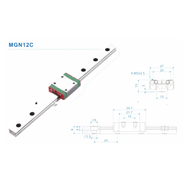 Image 4 - Mini for 12mm Linear Guide MGN12 400mm linear rail MGN12C Long linear carriage for CNC X Y Z Axis 3d printer part-in 3D Printer Parts & Accessories from Computer & Office