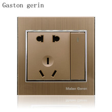 Multifunction Electric Wall Socket Push Button 1 Gang Luxury Brushed Golden 10A AC Power Outlet Panel Charger Dock