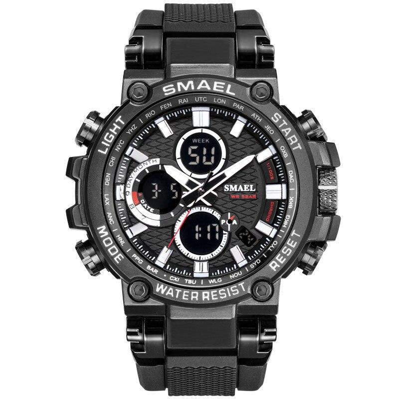 Digital dos Homens Nova Moda Smael Relógio Masculino Relógios Dupla Exibição Analógico Esportes Ouro Reloj Hombre