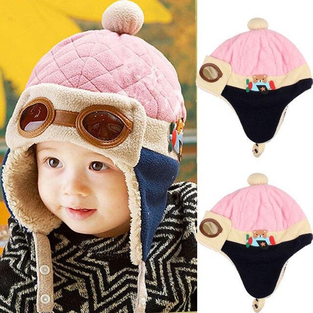 Free Shipping Fashion Design Boys Girls Winter Warm Cap Hat Beanie Pilot  Crochet Earflap Hats 10 to 48 Months Baby Winter Hat a4601d235b6
