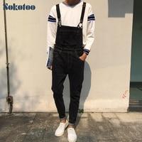 Men S Fashion Korean Style Pocket Overalls Casual Black Denim Jumpsuits Slim Jeans