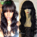 150% Density Virgin Brazilian Full Lace Human Hair Wigs With Bangs For Black Women Glueless Full Lace Front Wig Human Hair Wigs