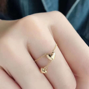 VOJEFEN Finger Chain Rings 18K Yellow Gold CZ Adjustable Rings Heart Drop AU750 Gold Ring For Women Girls Fine Jewelry(China)