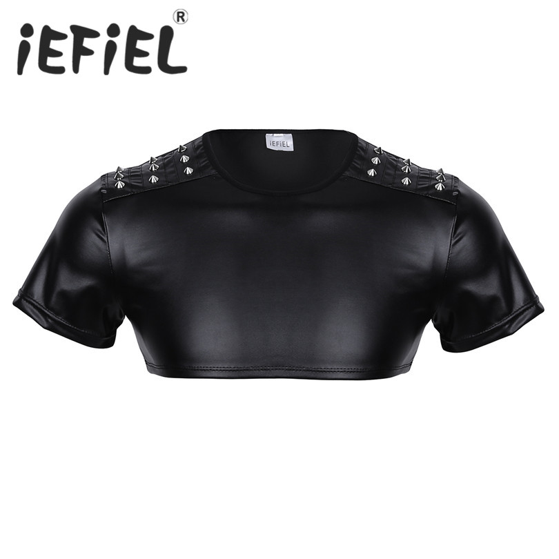 iEFiEL Fashion Male Men Soft Faux Leather Short Sleeve Studded Muscle Half Tank Top Clubwear Stage Performance Costume Crop Vest