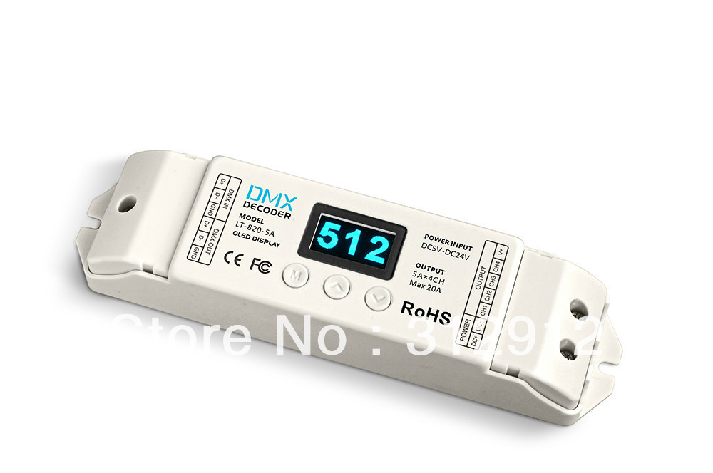 LT-820-5A 4 channel constant voltage LED DMX-PWM Decoder(8/16 bits optional,OLED Display);5A*4channel output led constant voltage dmx pwm decoder dimmer lt 820 5a 8 16 bits optional oled display 4channel 5a 4channel max 20a output