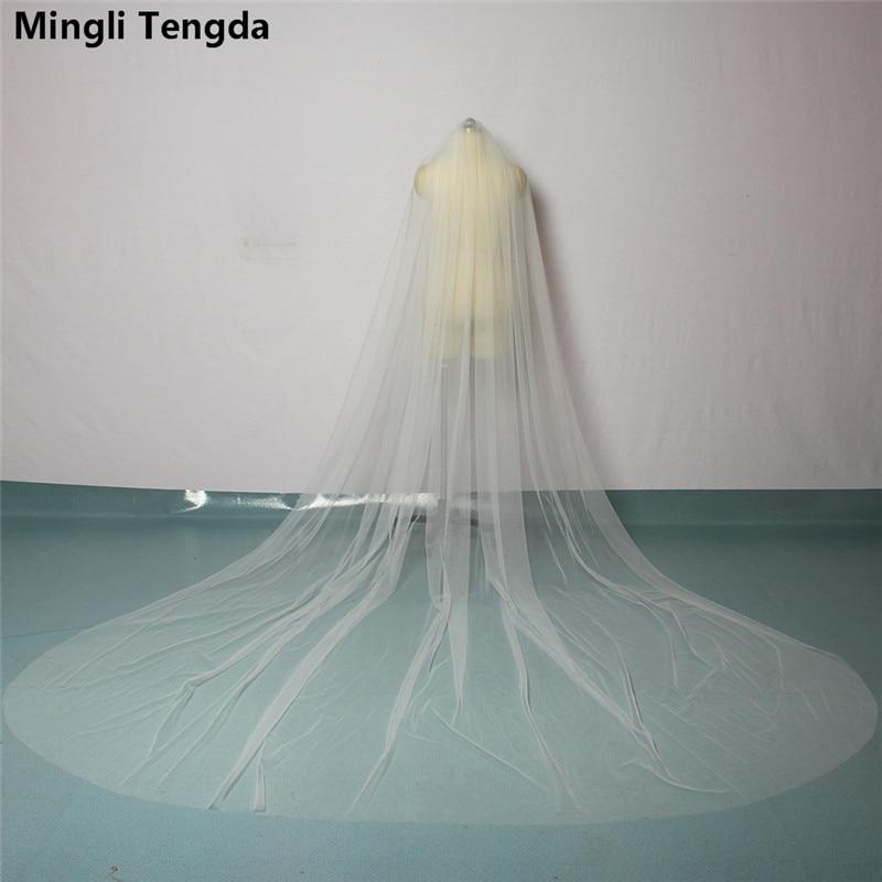 Luxury Cathedral Veil With Comb Bridal Veil One Layer Cut Edge Veil 3.5 M Long 3 M Wide Wedding Accessories Mingli Tengda Sluier