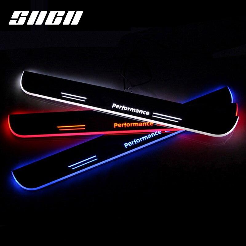 SNCN Garniture Pédale LED Voiture Porte Lumière Seuil Plat D'usure Accessoires Pour BMW E90 X6 F16 F30 F35 X5 E70 f15 F20 F21 E82 E60 F10 X3 F25