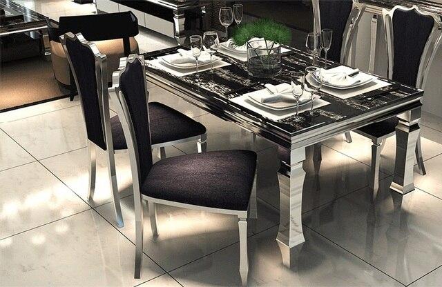 Metal moderno mesas de comedor de cristal y sillas de muebles juego ...