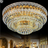 The New S Gold Golden Living Room Crystal Lamps LED Circular Dining Room Bedroom Lighting Ceiling