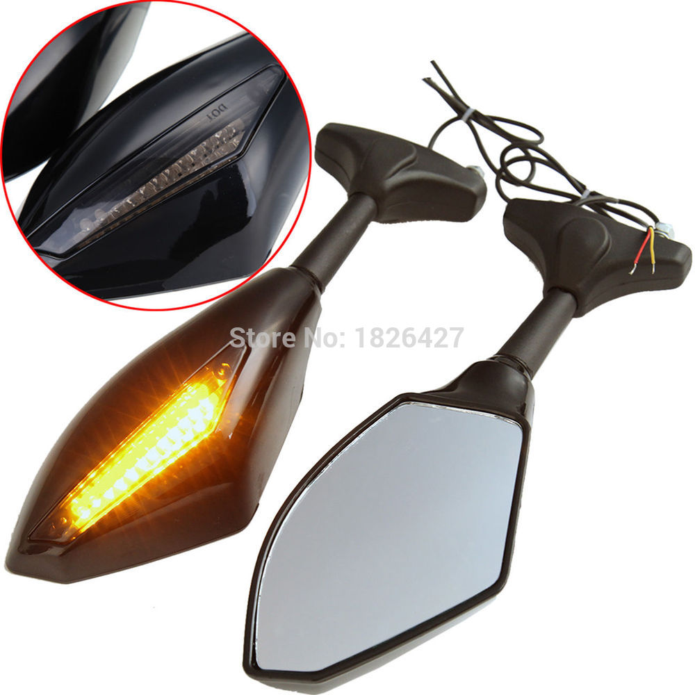 Bright black Motorcycle Street Bike Led Turn Signal Side Mirrors For Triumph Ducati KTM Ducati Honda Suzuki Kawasaki Yamaha