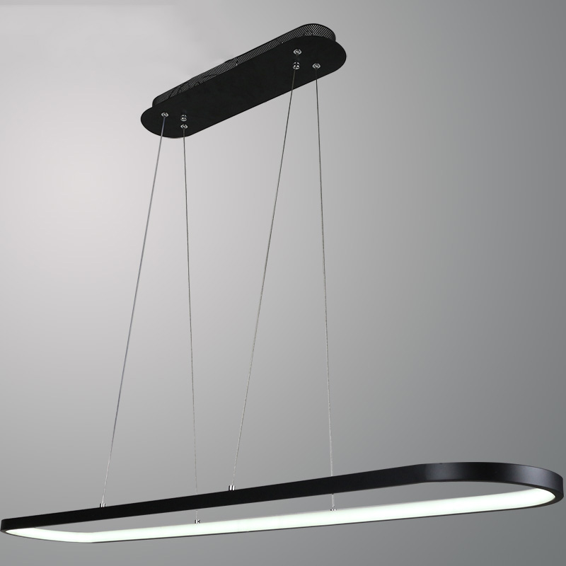 Lights & Lighting Simple Long Oval Led Pendant Light For Dining Room Office Study Table Kitchen Island Bar Counter Reception Black White Droplight