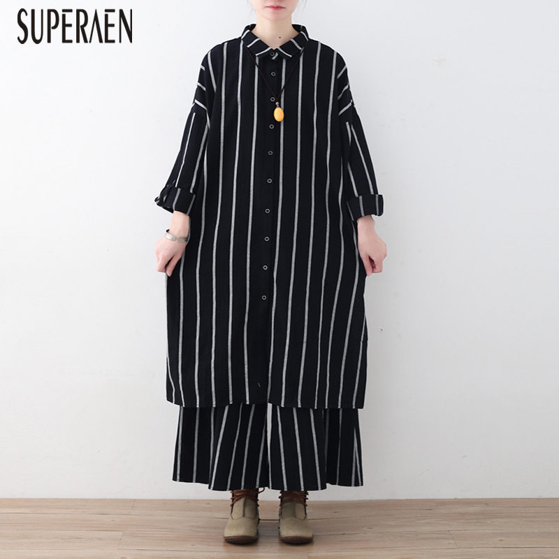 SuperAen 2019 Spring New Women's Sets Loose Pluz Size Striped Cotton Women Shirt Wild Casual Wide Leg Pants Two Pieces Female-in Women's Sets from Women's Clothing    1