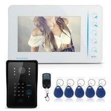 """7 """"TFT LCD Video Puerta Del Timbre Del Teléfono del Sistema de Intercomunicación 1 Cámara 1 Kit de Monitor con 5 Tarjetas RFID INFRARROJOS de Visión Nocturna para la Seguridad Casera"""
