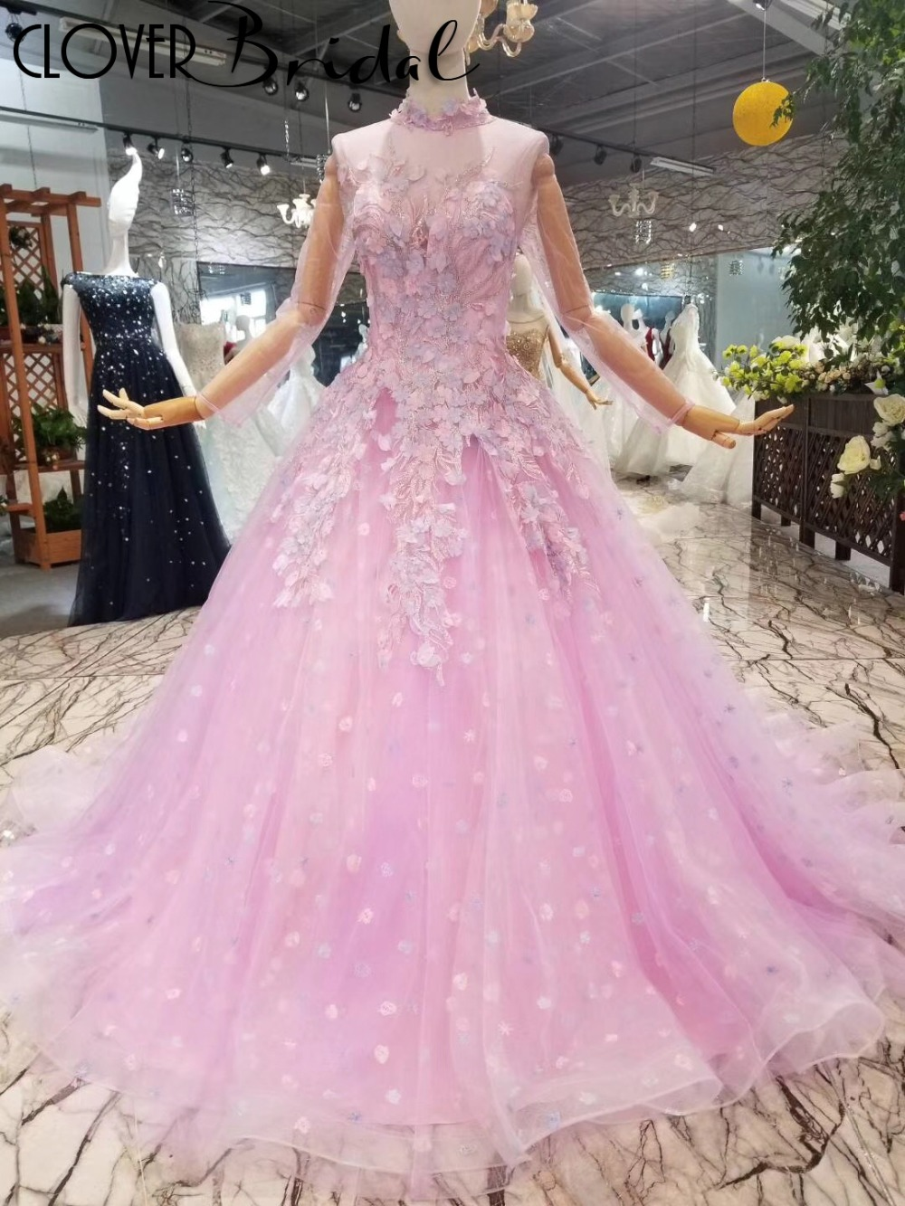 2018 summer romantic high neck long illusion long sleeves girls long party dress with lots leaves flowers all over skirt