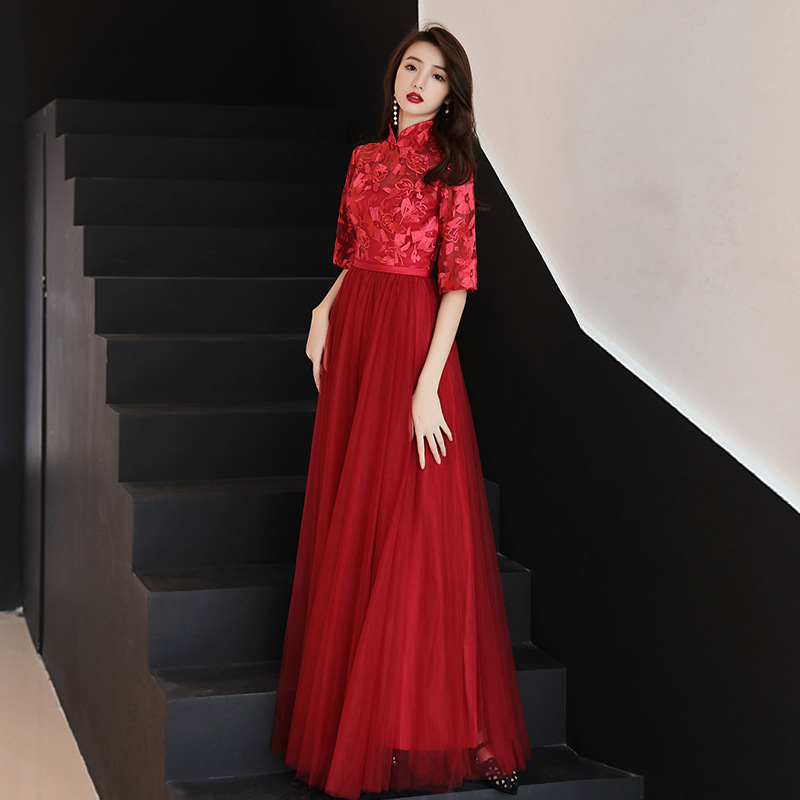 Burgundy Lace Oriental Style Dresses Chinese Bride Vintage Traditional Wedding Cheongsam Dress Long Qipao Plus Size