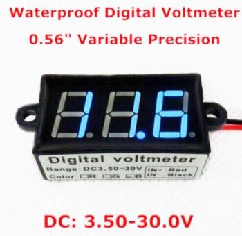 DC 3.5-30V Digital Voltmeter Voltage Test Module Waterproof 3Bit Blue 0.56''