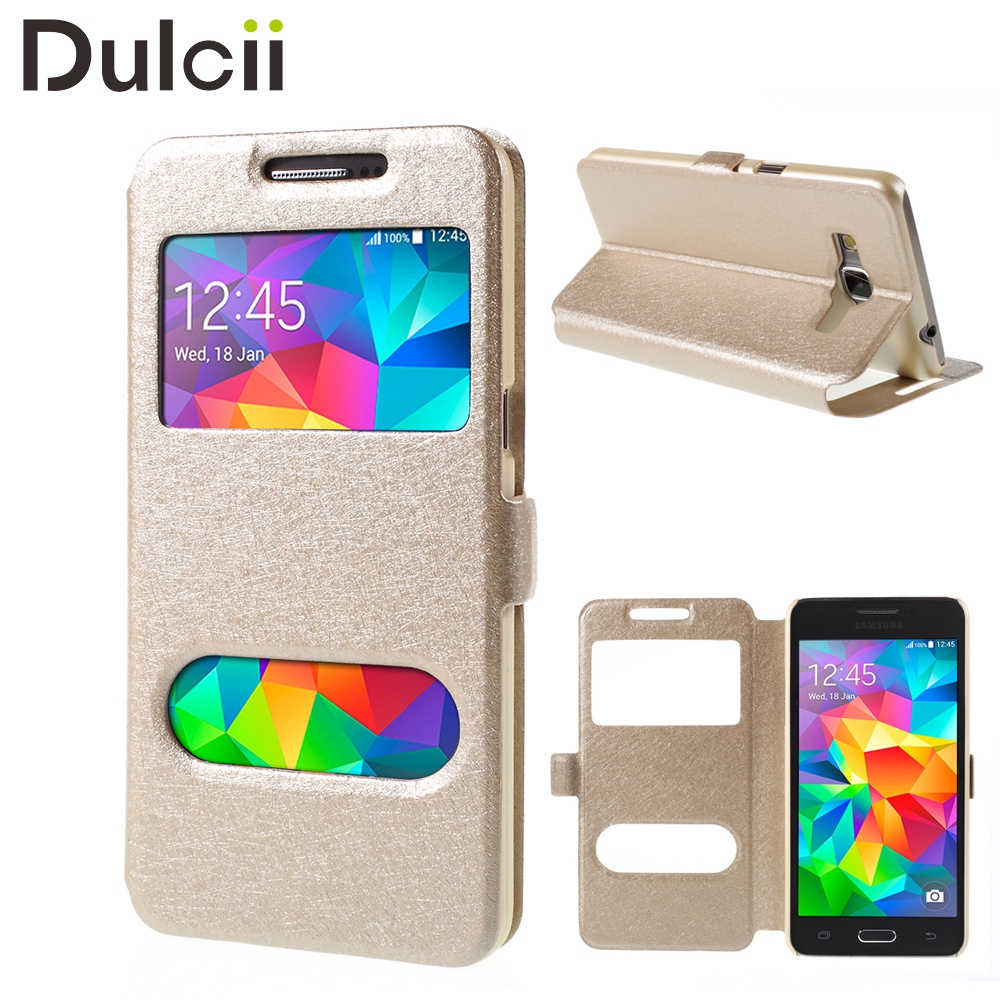 for samsung galaxy grand prime sm g530 case Phone Bag Cover Dual View Window PU Leather