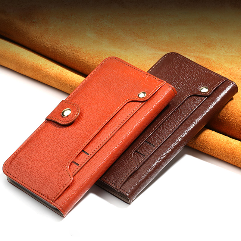 Wangcangli Genuine Leather Case For iPhone 8 X Litchi Texture Purse Card Slots Phone Button Cover For iPhone 6 6S 7 Plus Wallet
