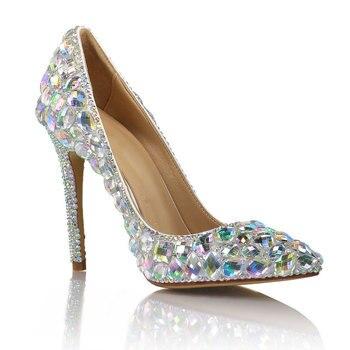 Women Pumps Wedding Shoes fashion spring Rhinestone 10CM Thin High Heels Bling Party Rhinestone Shoes