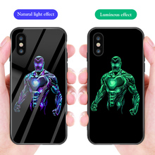 ciciber Luxury Phone Case for iphone 11 Pro Max XR X XS Marvel Iron Man Luminous Glass Cover 7 6 8 6S Plus Funda