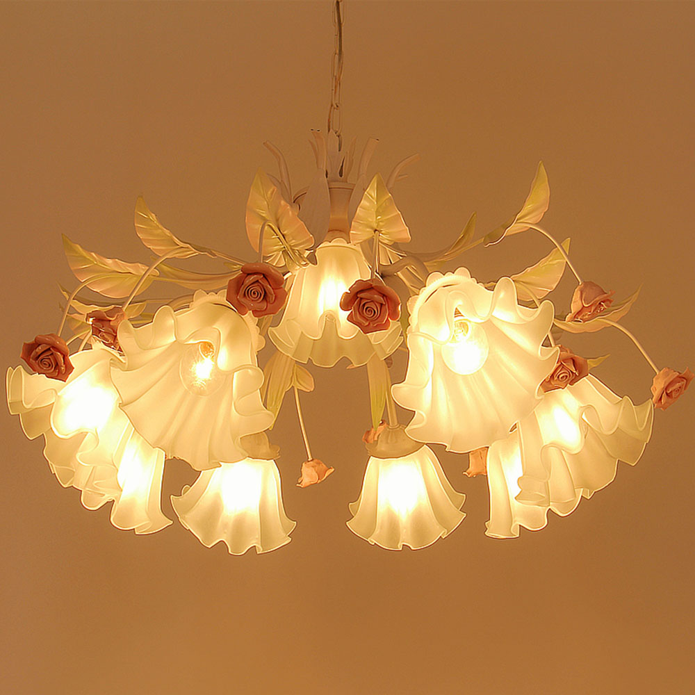 Pink Chandelier LED Lustre Modern Wrought Iron Chandelier 110-220v Chinese Pink Romantic Flower Chandeliers Luminarias