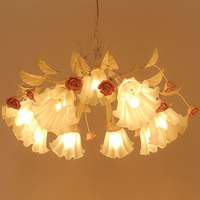 Pink Chandelier LED Lustre Modern Wrought Iron Chandelier 110 220v Chinese Pink Romantic Flower Chandeliers Luminarias