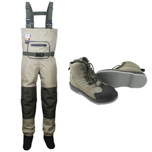 Breathable stocking foot Chest Waders Hunting Wading Pants and Fly Fishing Wading Shoes Felt Sole Fishing Boots unisex plus 46 fishing waders leg pants super large synthetic leather boots thickening sole one piece fishing waders leg pants