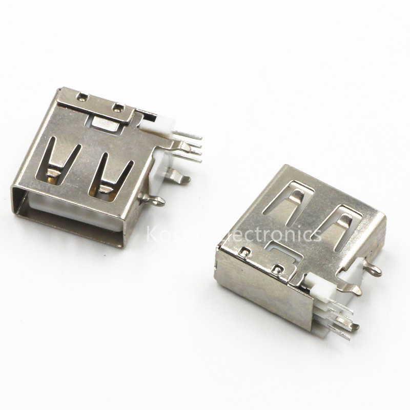 10pcs <font><b>USB</b></font> Type-A Female <font><b>PCB</b></font> Mount Socket <font><b>Connector</b></font> High Quality Vertical <font><b>Usb</b></font> A Female Socket Jack <font><b>Connector</b></font> 90 degree image