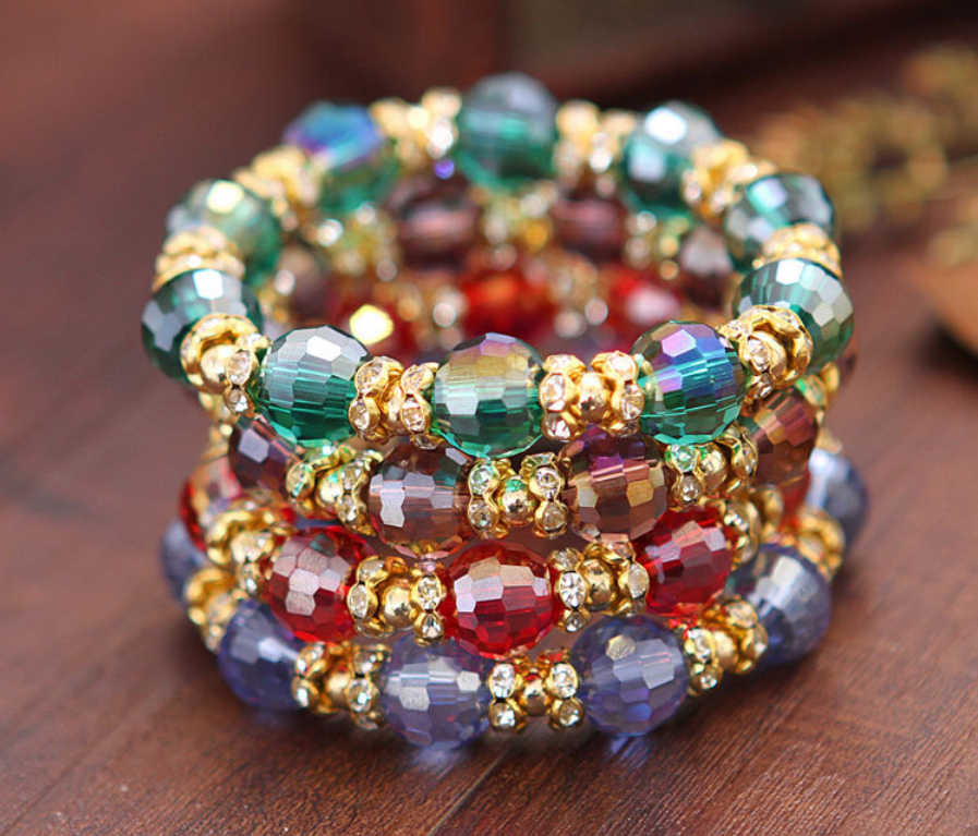 {2019 hot selling bohemia crystal beads bracelet,lowest price whole sale bohemia wedding bracelet jewelry,bohemia wedding gift