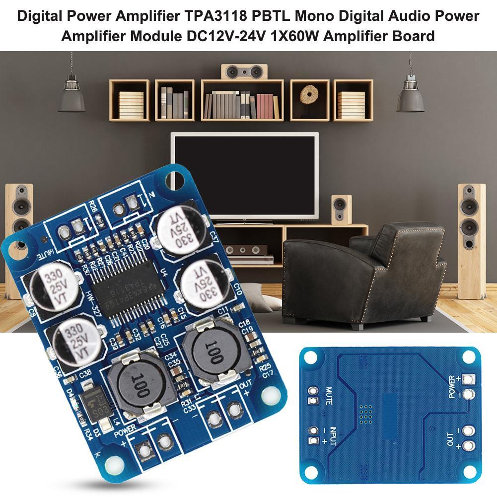 Digital Power Amplifier TPA3118 PBTL Mono Digital Audio Power Amplifier Module DC12V-24V 1X60W Ampli