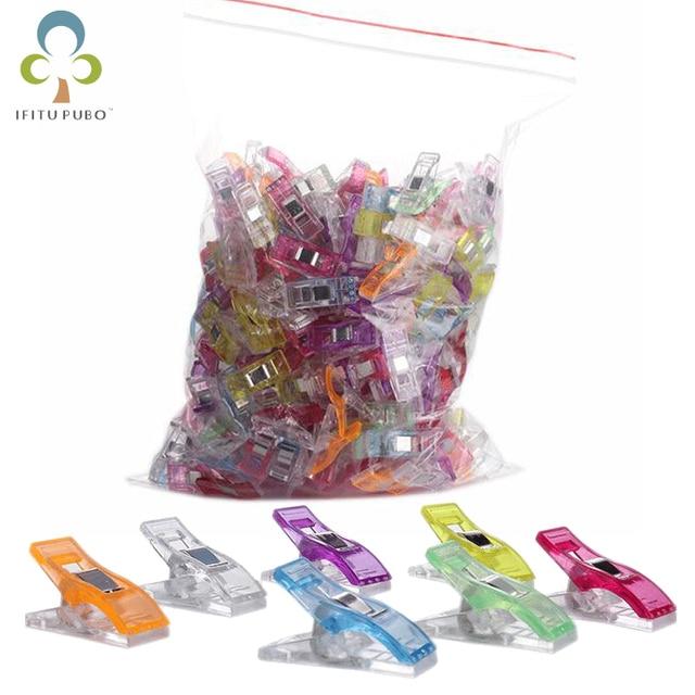 50pcs/lot Tape Bias Maker DIY Job Foot Case Supplies Plastic Clip Hemming Sewing Tools Sewing Accessories Fabric GYH