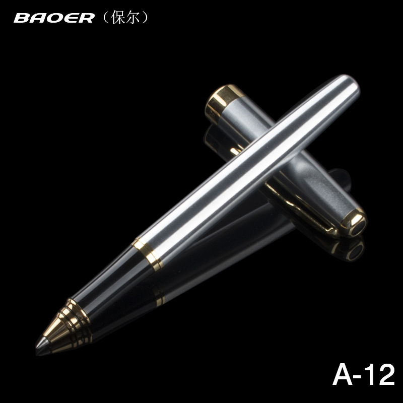 Full Metal Baoer 388 roller ball Pen 0.5mm Medium refill Gold Clip Sliver/Matte office rollerball Pen Business stationery