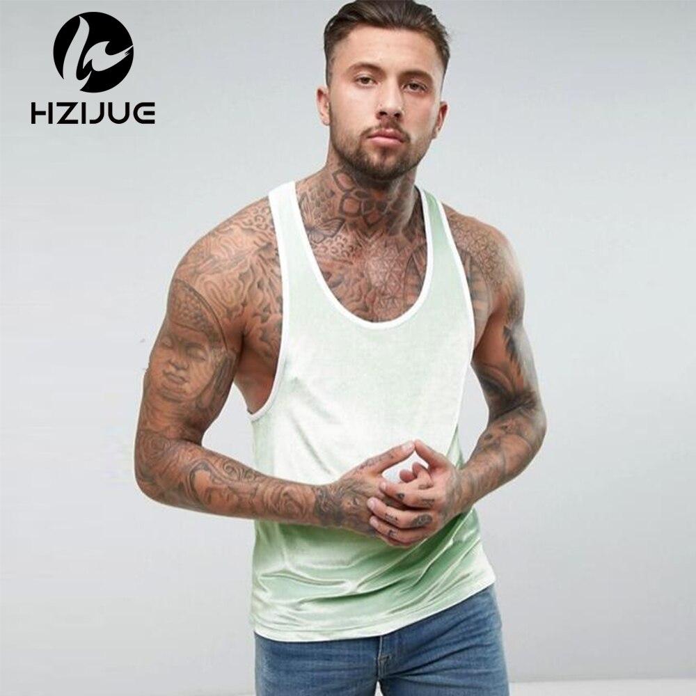HZIJUE 2018 Spring Summer Solid Color Casual Velour   Tank     Top   Men Europe America Street Mens hip hop Clothing Men's Velvet Vest